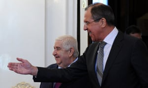 Russian foreign minister Sergei Lavrov speaks with his Syrian counterpart Walid al-Moualem during their meeting in Moscow on Monday. The regime of Syrian President Bashar al-Assad is ready to talk with all parties, including armed groups, who want dialogue to end the conflict, Walid al-Muallem said today at the start of talks with Lavrov.