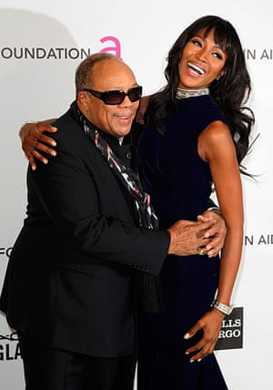 Oscars after party: Quincy Jones and Naomi Campbell arrive at the Elton John's AIDS Foundation