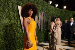 Oscars after party: Solange Knowles arrives at the Vanity Fair Oscar party