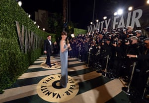 Oscars after party: Anne Hathaway arrives at the Vanity Fair Oscar party