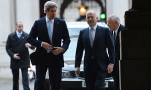 William Hague and US secretary of state John Kerry arrive at Downing Street for a meeting with  David Cameron.