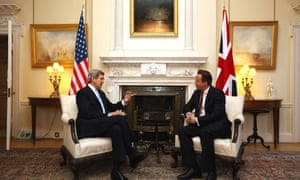 Cameron and Kerry at 10 Downing Street.