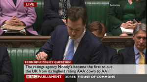 George Osborne answering the urgent question on AAA