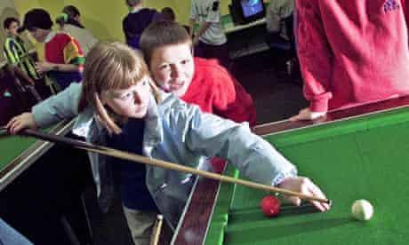 Children playing snooker