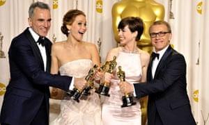 Oscars 2013 Daniel Day-Lewis Jennifer Lawrence Anne Hathaway Christoph Waltz