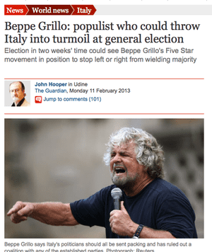 Guardian article on Beppe Grillo