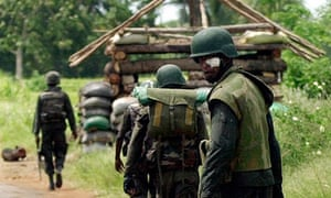 Sri Lankan soldiers on patrol