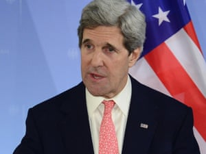 US secretary of state John Kerry at a press conference at the foreign ministry in Berlin on 26 February