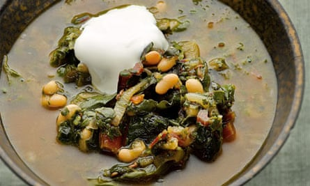 Swiss chard and haricot bean soup