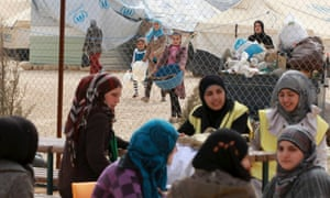 Syrian refugees at the Za'atari camp in the Jordanian city of Mafraq, near the border with Syria.