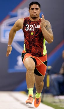 Notre Dame linebacker Manti Te'o runs the 40-yard dash at the NFL combine