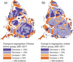 Change in residential spread 2001-2011 for the Chinese and Indian groups