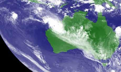 Cyclone Rusty in a satellite image