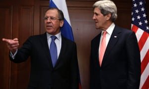 Russian foreign minister Sergei Lavrov and US secretary of state John Kerry before their meeting in Berlin.