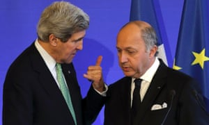 French foreign minister Laurent Fabius  and US secretary of state John Kerry after a news conference in Paris on Wednesday.