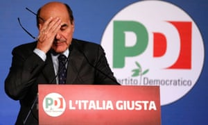 Italian PD leader Pier Luigi Bersani reacts during a news conference in Rome February 26, 2013.