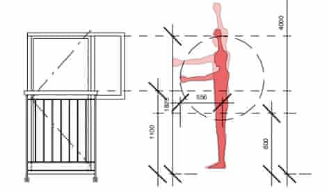 diagram showing the reach of a person in relation to a window