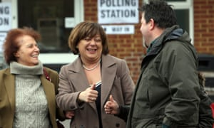 Conservative Candidate Maria Hutchings (in the middle) with her mother Victoria Payne after casting their vote in the Eastleigh by-election.