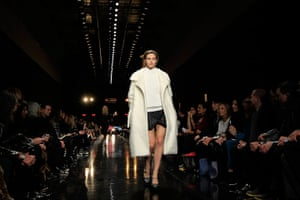 Paris fashion week 2013: A model presents a creation by French designer Guillaume Henry