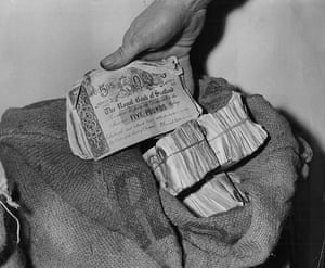Bruce Reynolds: Two sacks of banknotes which were found in a telephone box