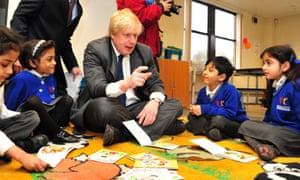 Boris Johnson in a school in Feltham yesterday.