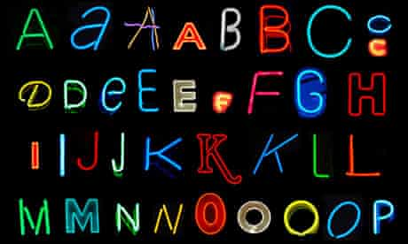 Letters of the alphabet made from neon signs (series 1 of 3)