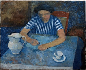 William Scott: Girl and Blue Table by William Scott