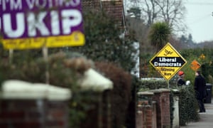 Ukip and Lib Dem signs in Eastleigh on 28 February 2013.