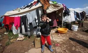 A Syrian refugee boy