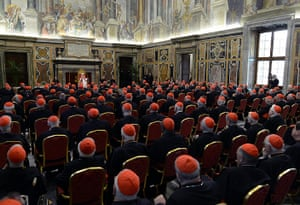 The Pope's last day: Pope Benedict XVI delivers his message at his farewell meeting to cardinals