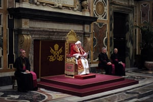The Pope's last day: Pope Benedict XVI attends a meeting with his cardinals