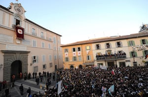 The Pope's last day: Pope Benedict XVI stands on a balcony of Castel Gandolfo
