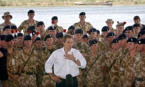 Tony Blair addresses troops in Basra, Iraq, in May 2003