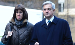 Chris Huhne and his partner Carina Trimingham arriving at Southwark Crown Court. Huhne has pleaded guilty to perverting the course of justice.