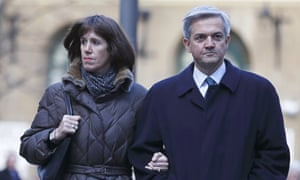 Chris Huhne and partner Carina Trimingham arrive at Southwark Crown Court in London.
