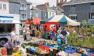 Market day in the square Totnes Devon