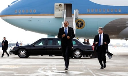 U.S. President Barack Obama runs toward supporters upon his arrival in Minneapolis, Minnesota. Obama is in Minnesota to discuss ways to reduce gun violence in America.