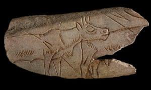 a reindeer, carved into a reindeer bone