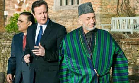David Cameron with Asif Ali Zardari and Hamid Karzai