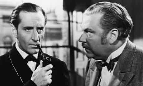 Basil Rathbone and Nigel Bruce In The Adventures of Sherlock Holmes