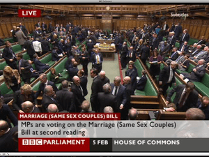 MPs voting on the gay marriage bill.