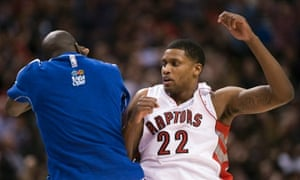 a68c954e4ef Toronto Raptors forward Rudy Gay, right, celebrates with Quincy Acy during  the second half
