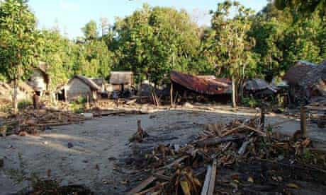 Tsunami damage in Temotu province of the Solomon Islands