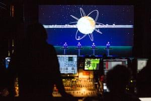 Kraftwerk: Photograph taken from the mixing desk of Kraftwerk performing Autobahn
