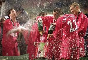 Jamie Carragher's career: Liverpool celebrate