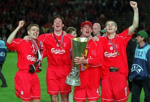 Jamie Carragher's career: Jamie Carragher celebrates with the UEFA Cup