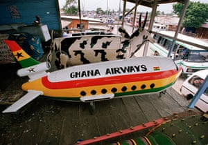Coffins in Ghana: An coffin decorated like a Ghana Airways plane, June 2005