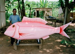 Coffins in Ghana: A coffin being made in the shape of a fish near Accra