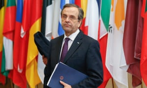 epa03573184 Greece Prime Minister Antonis Samaras leaves for a two hours break during the European Council meeting, at the European Council headquarters in Brussels, Belgium, 08 February 2013.