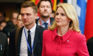 Danish Prime Minister Helle Thorning Schmidt leaves for a two hours break during the European Council meeting, at the European Council headquarters in Brussels, Belgium, 08 February 2013.